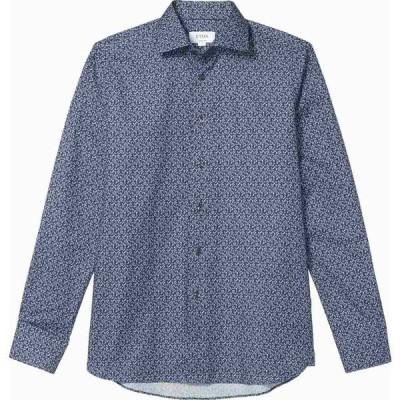 イートン Eton メンズ シャツ トップス Contemporary Lightweight Leaf Button-Down Blue