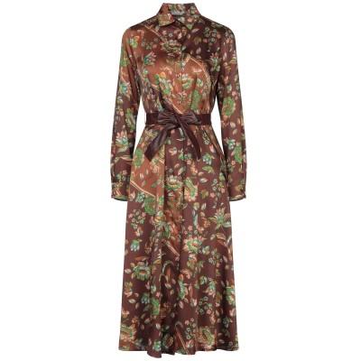 BIANCOGHIACCIO 7分丈ワンピース・ドレス ブラウン 40 ポリエステル 100% 7分丈ワンピース・ドレス