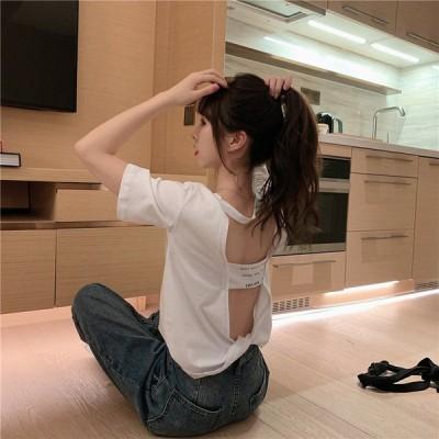 Tシャツ レディース 半袖 春 夏 コットン ゆったりTシャツ 可愛い M L XL 上着 レディースファッション ブラック ホワイト カジュアルTシャツ
