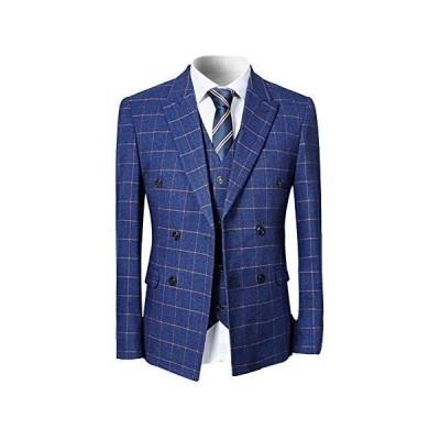 [YFFUSHI] スーツ メンズ スリーピース 1つボタン ダブルボタン チェック柄 ストライプ ビジネス スリム(ブルー/ダブルボタン M)