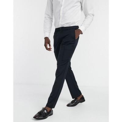 ハリー ブラウン Harry Brown メンズ スキニー・スリム ボトムス・パンツ Slim Fit Elasticated Waistband Utlity Pocket Trouser ネイビー