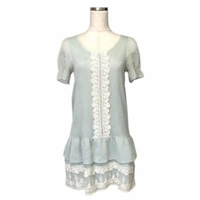 MERCURYDUO マーキュリーデュオ プリンセスレースワンピース (ブルー 半袖 ドレス) 121527 【中古】