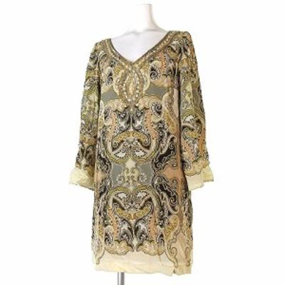 【中古】グレースコンチネンタル GRACE CONTINENTAL ワンピース ドレス ミニ シルク Vネック ベージュ 36 レディース