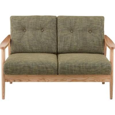 メーカー直送 2人掛け ソファ グリーン 幅127cm 天然木 木製 椅子 イス いす ソファ ソファー おしゃれ 人気 おすすめ
