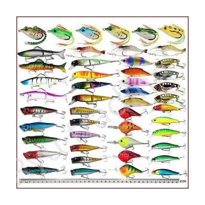 新品釣り用ハードルアー 43点セット 詰め合わせのバス釣り用ルアーキット カラフル ミノウ ポッパー ク