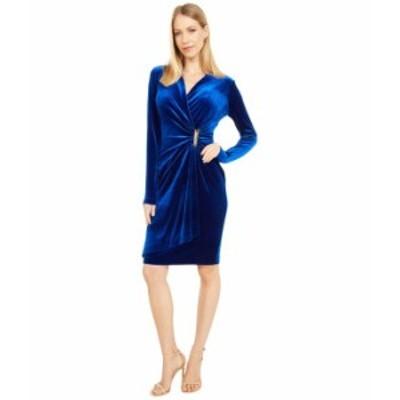 カルバンクライン レディース ワンピース トップス Long Sleeve Ruched Velvet Dress with Side Tab Sapphire