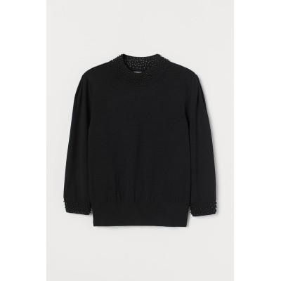 H&M - ビーズセーター - ブラック