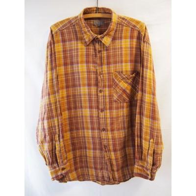 an06158/PREGO/ブラウンコットンチェックフランネルシャツ/XL/送料無料