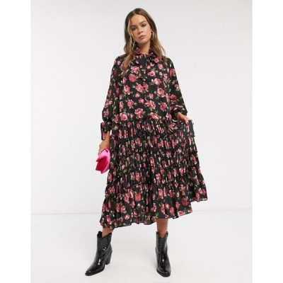 シスタージュン レディース ワンピース トップス Sister Jane midi smock dress with pleated skirt in rose print