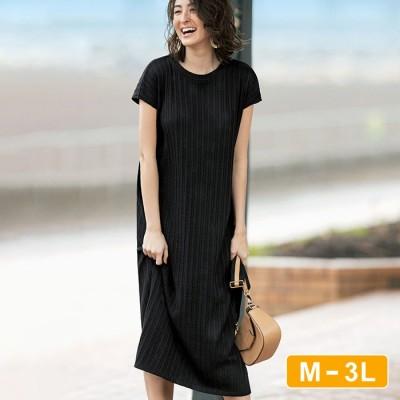 Ranan 【M~3L】UVカット!綿混カットソージャカードワンピース ブラック M レディース