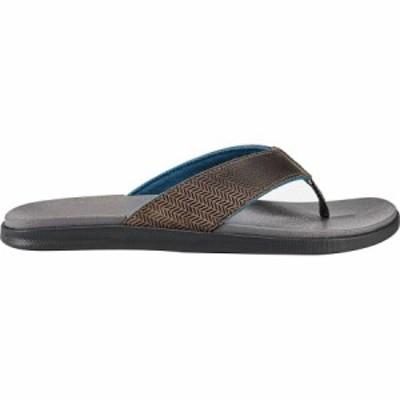 (取寄)オルカイ メンズ アラニア フリップ フロップ Olukai Men's Alania Flip Flop Charcoal/Charcoal 送料無料