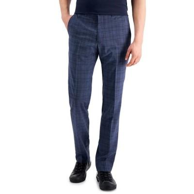 アルマーニ カジュアルパンツ ボトムス メンズ Men's Slim-Fit Suit Pants Navy Plaid