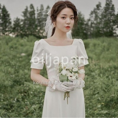 ウエディングドレス ミモレドレス 結婚式 二次会 花嫁 プリンセスドレス Aライン 白ドレス ロングドレス 披露宴 姫系 レース お呼ばれ 挙式