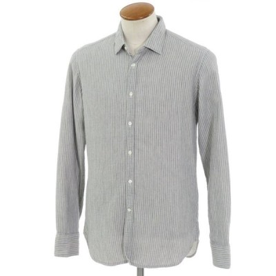 ベヴィラクア Bevilacqua ストライプ柄 コットン カジュアルシャツ グレー×ホワイト M