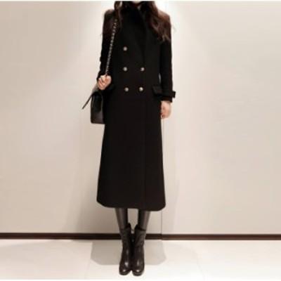 イブニングコート ロング ダブルブレストコート ブラック 黒 秋物 冬物 最新 レディース ファッション 2020 人気 可愛い 大人