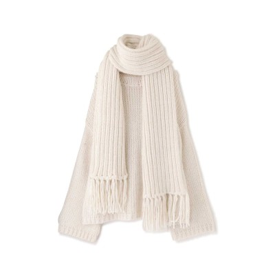 ◆《EXCLUSIVE LINE》レイヤードニットストールセット OFF WHITE