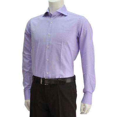ボンサー ラベンダーブル−カラー メンズドレスシャツ オックスフォードコットン ホリゾンタルカラー イタリア Men's