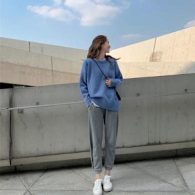 韓国 ファッション レディース トップス 秋冬 長袖 無地 ニット セーター ブルー グリーン おしゃれ オーバーサイズ カジュアル シンプル