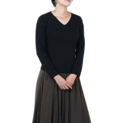 カシミヤ100% ブラック サイズ M レディスVネックセーター 【ORIGINAL BK】