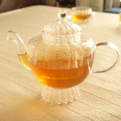 ガラス食器 ティーフォーツー ウェーブ 台付き ティーポット 耐熱ガラス 茶こし付き