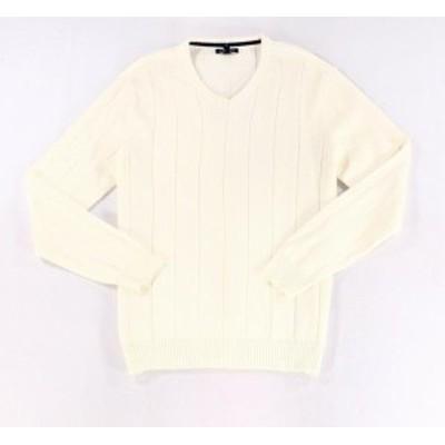 ファッション トップス Club Room Mens White Ivory Size Medium M V-Neck Rib Textured Sweater #089