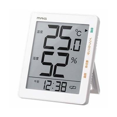 MAG(マグ) 温湿度計 デジタル 時計 環境目安 最高 最低 温湿度表示 ホワイト TH-105WH