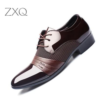 ZXQメンズドレスシューズプラスサイズ38-47メンズビジネスフラットシューズブラックブラウン通気性の低いトップメンズ正式なオフィスの靴