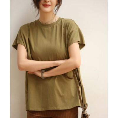 【セゾン ド パピヨン】 フレンチスリーブのクルーネックコットンTシャツ レディース グリーン XLサイズ SAISON DE PAPILLON
