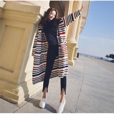 [55555SHOP]新しい女性の気質は ニットカーディガン お洒落なオフィススタイル  普段着 通勤 早秋のニット セーター カレッジ風 ストライプ 配色 可愛い 明るい色 ロング丈 ニット コート