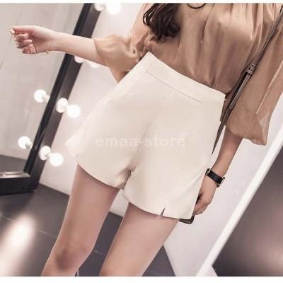スリットショートパンツ ボトムス パンツ ショートパンツ スリットきれい目 ミニ ホワイト/ベージュ/ブラック S/M/L/XL