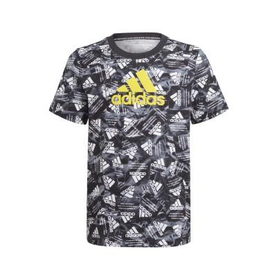 アディダスウェアボーイズ ロゴ 半袖 Tシャツ JKX66-GJ6647ブラック×イエロー