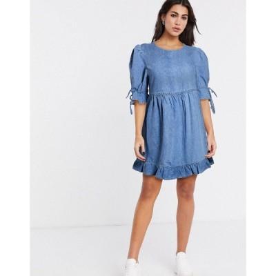 アンドアザーストーリーズ レディース ワンピース トップス & Other Stories denim frill hem smock dress in blue 001 blue