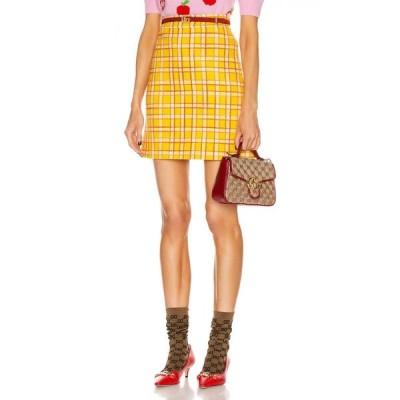 グッチ Gucci レディース ミニスカート スカート tweed mini skirt Yellow