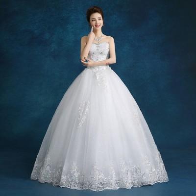 ウエディングドレス  バニエ付き 花嫁  結婚式 披露宴 二次会 パーティードレス Aラインタイプ 姫系トレス 白 XS~XXL