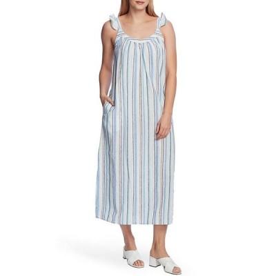 ヴィンスカムート レディース ワンピース トップス Sleeveless Ruffle Strap Striped Linen Cotton Blend Midi Dress