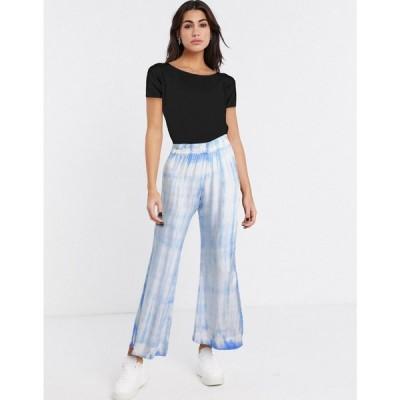 ウィークデイ Weekday レディース ボトムス・パンツ Shear tie-dye flared trousers in pastel blue