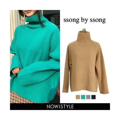 韓国 ファッション ニット レディース セーター 長袖 ウールタートル