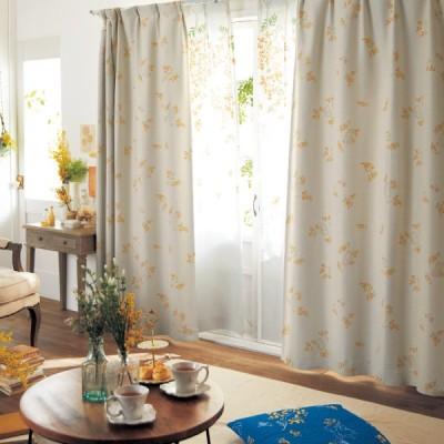 ディズニー ミモザ柄の綿混遮光・遮熱カーテン「クラシック・プー」  約100×110(2枚) 約100×120(2枚)
