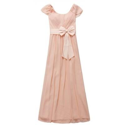 ロングドレス パーティドレス 袖 リボン ピンク 結婚式