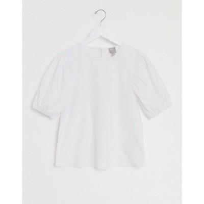 エイソス レディース シャツ トップス ASOS DESIGN short puff sleeve top in cotton white White
