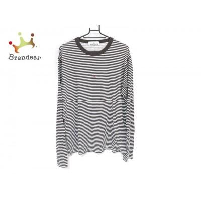 ストーンアイランド 長袖Tシャツ サイズL メンズ - ダークブラウン×白 クルーネック/ボーダー 新着 20200920