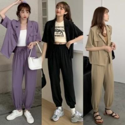 セットアップ レディース 夏 ワイドパンツ テーラードジャケット 韓国 ファッション 夏服 レディース  シャツジャケット 半袖 テーパード