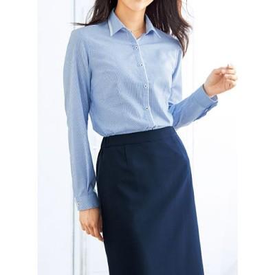 形態安定切り替えシャツ(長袖)(抗菌防臭・UVカット・洗濯機OK)/ストライプA(ブルー系)/L