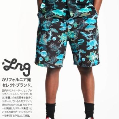 LRG ハーフパンツ ナイロン メンズ 春夏用 黒 大きいサイズ エルアールジー ナイロンパンツ ショートパンツ ゆったり パンツ おしゃれ か
