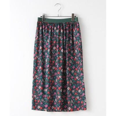 TABASA/タバサ ポリエステルツイル小花プリントスカート グリーン S