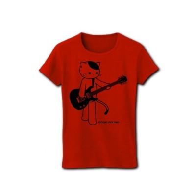 GOOD SOUND ギターとねこ リブクルーネックTシャツ(レッド)
