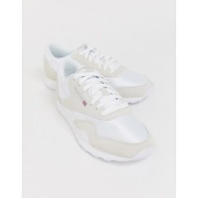 リーボック メンズ スニーカー シューズ Reebok Classic nylon sneakers in white White