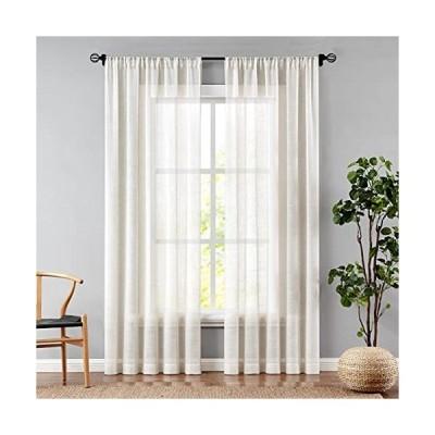 WEST LAKE Linen Sheer Curtains 63 inch Long Natural Rod Pocket Window Drape