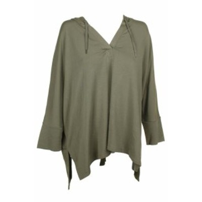 ファッション トップス Style & Co Olive Green Dolman-Sleeve V-Neck Hooded Poncho Pullover XL
