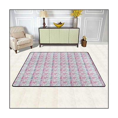 Romantic Kids Rug 6' x 9', Cute Valentines Day Love You Calligraphy with Hearts Pastel Colored Design Non-Slip Rug, Baby Pink Teal